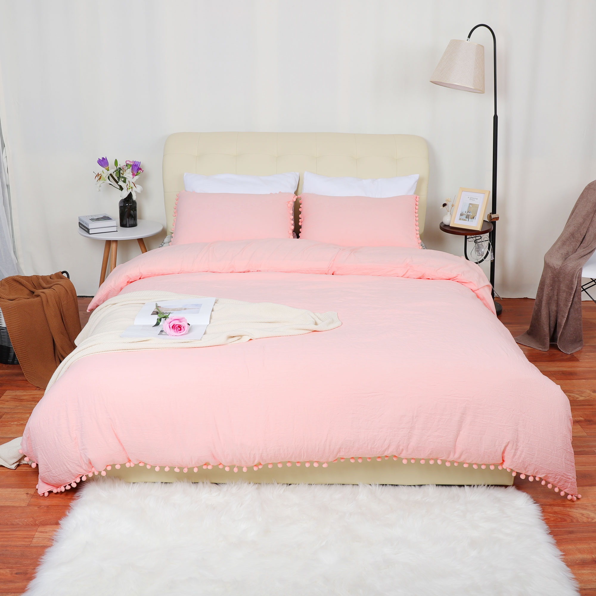 Wash Cotton Bedding Duvet Cover Pillowcase w Pompon Tassels King White