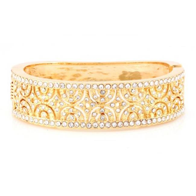 C Jewelry Gold And Crystal Detailed Hinged Bracelet