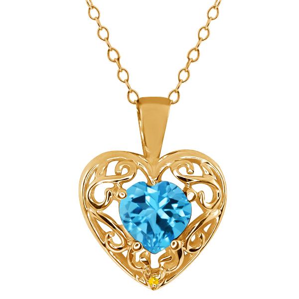 1.01 Ct Heart Shape Swiss Blue Topaz Sapphire Gold Plated Silver Pendant