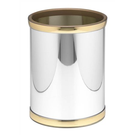 Mylar 10 in. Round Wastebasket in Polished Chrome and (Brass Wastebasket)