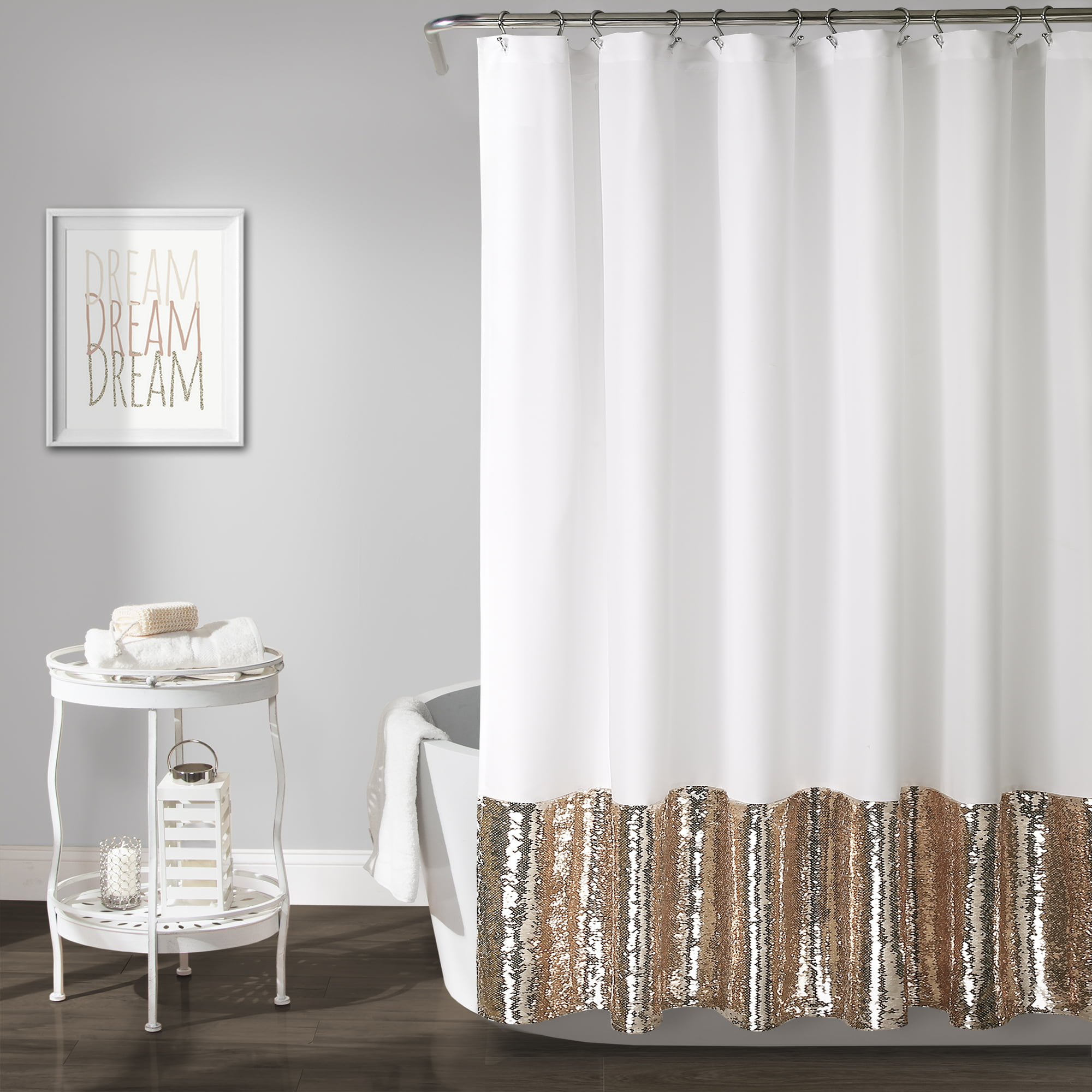 Mermaid Sequins Spa Shower Curtain Gold - Lush Décor