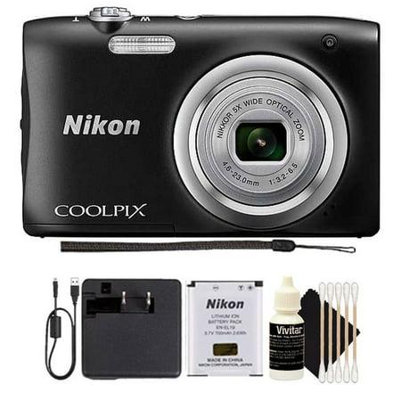 - Nikon Coolpix A100 20.1MP 5x Optical Zoom Compact Digital Camera (BLACK) Holiday Gift Set