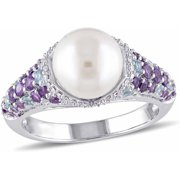 8-8.5mm White Round Cultured Freshwater Pearl with 4/5 Carat T.G.W. Multi-Gemstone and Diamond-Accent Sterling Silver Cocktail Ring
