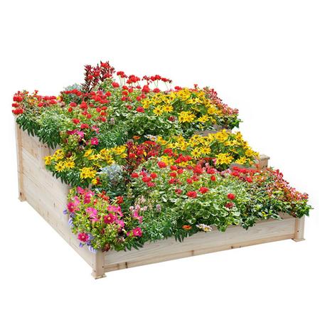 SmileMart 3-Tier Wooden Raised Elevated Garden Bed Planter Box Kit Flower Vegetable Bed ()