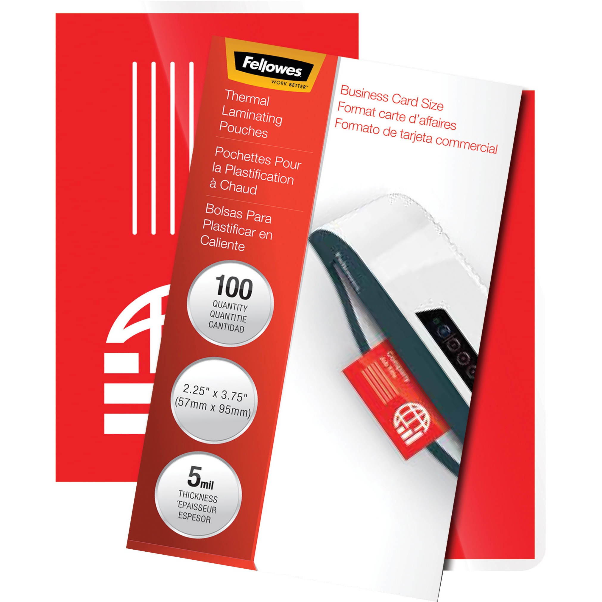 Fellowes Glossy Pouches - Business Card, 5 mil, 100 pack