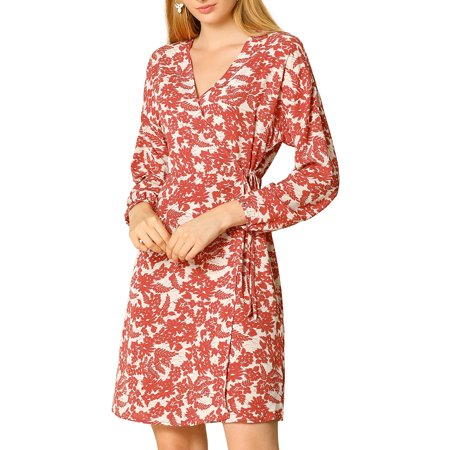 Allegra K Womens' Dress Floral Cross V Neck Tie Waist Wrap Dresses M Red Banded Waist V-neck Dress