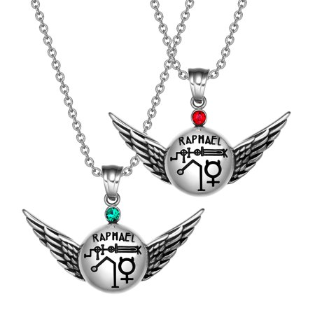 Archangel Raphael Magic Planetary Amulets Set Angel Wings Royal Green and Red Crystals Pendant Necklaces
