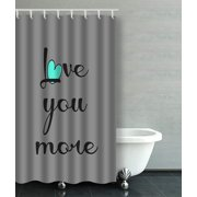 ARTJIA Love You More Black Aqua Heart On Gray Decorative Bathroom Shower Curtain 36x72 inches