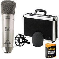 Behringer B-2 Pro Dual-Diaphragm Multi-Pattern Studio Condenser Microphone Bundle with 1 Year Extended Warranty