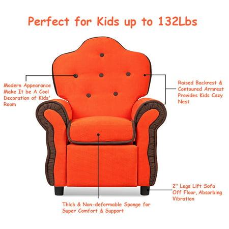 Children Recliner Kids Sofa Chair Couch Living Room Furniture Orange - image 5 de 9
