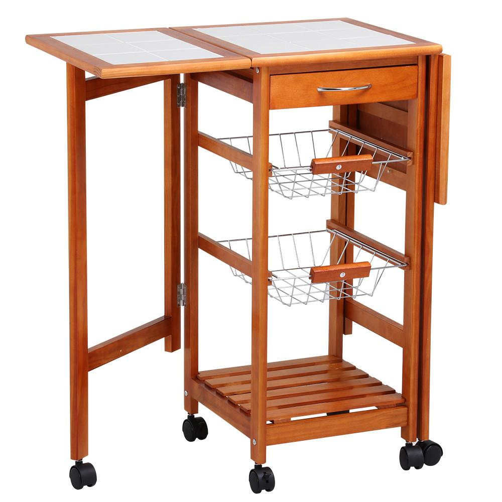 Yaheetech Portable Rolling Drop Leaf Kitchen Island White Tile Top Trolley Table Cart with Drawers and Baskets
