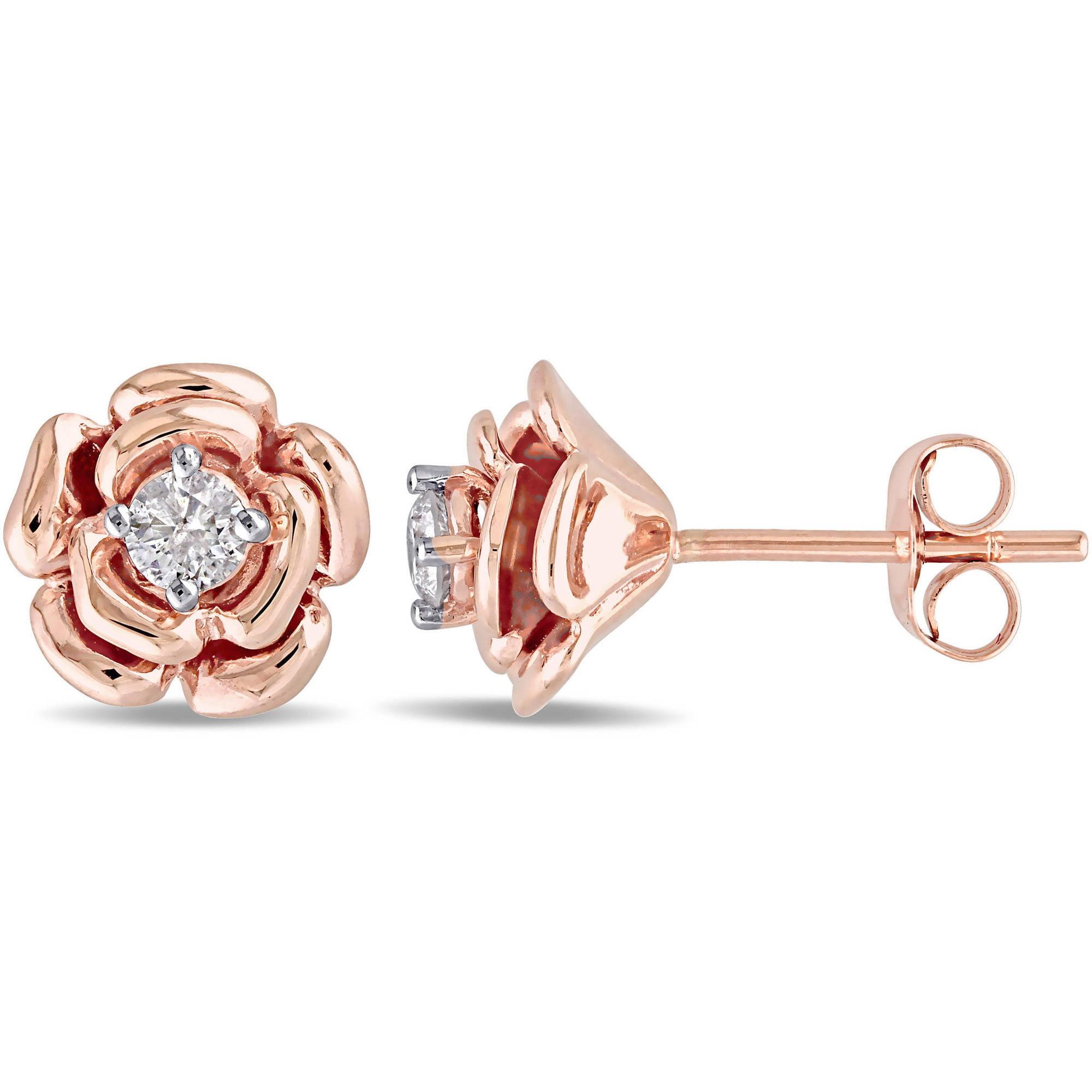 Miabella 1 5 Carat T.W. Diamond 10kt Pink Gold Flower Stud Earrings by Delmar Manufacturing LLC