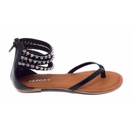 Report Womens Gentry Flat Ankle Strap Sandal Black Embellished Size 6 M