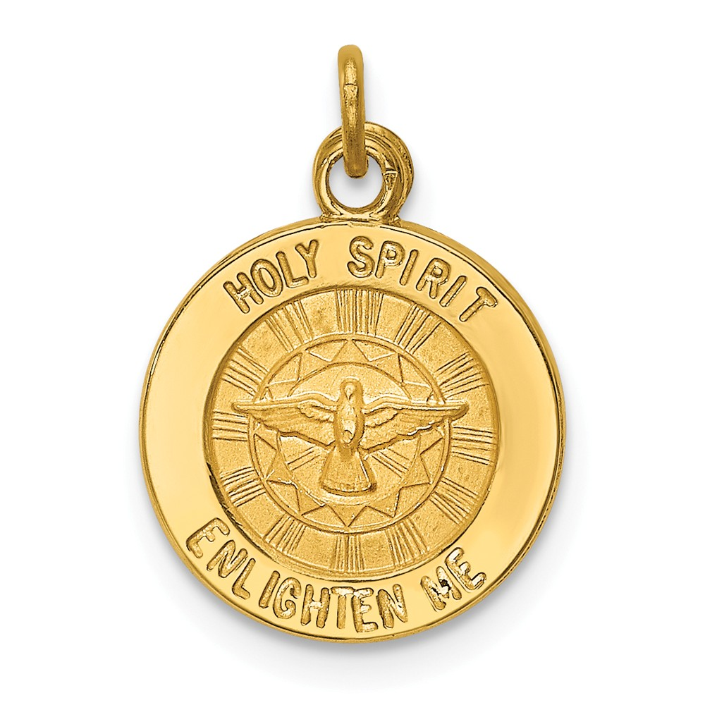 14k Yellow Gold Engravable Holy Spirit Medal Charm. (0.7in long x 0.5in wide)