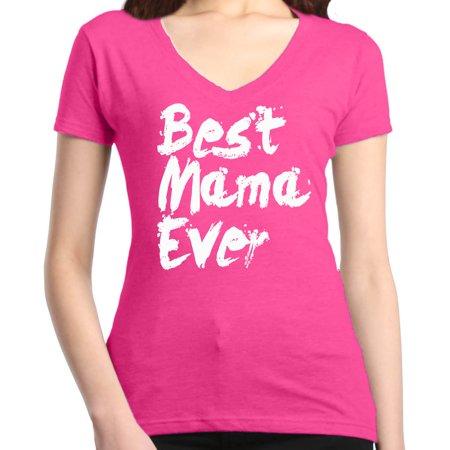 Shop4Ever Women's Best Mama Ever Paint Font Slim Fit V-Neck