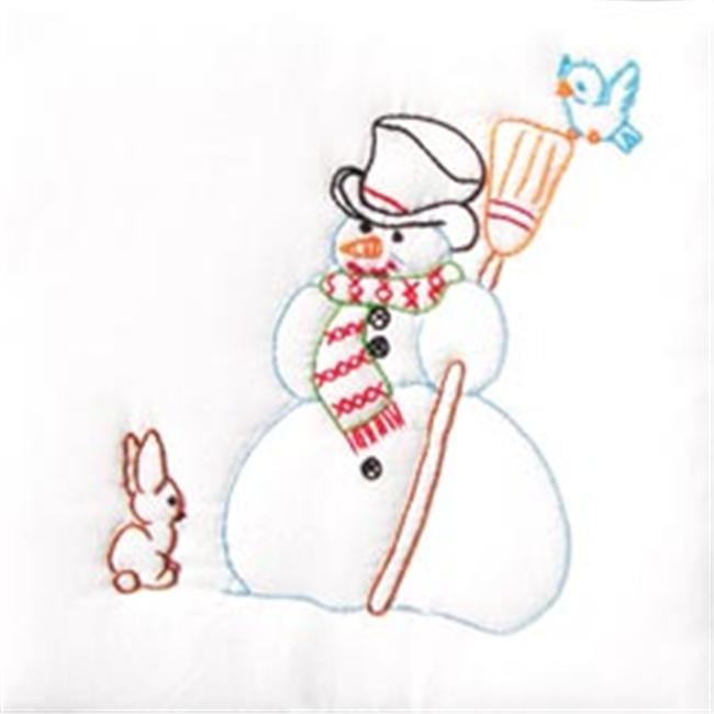 242524 Stamped White Quilt Blocks 9 in. x 9 in. 12-Pkg-Snowman - image 1 of 1