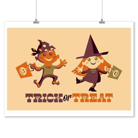Trick or Treat Kids - Retro Halloween - Lantern Press Artwork (9x12 Art Print, Wall Decor Travel - Halloween Trick Or Treat Posters