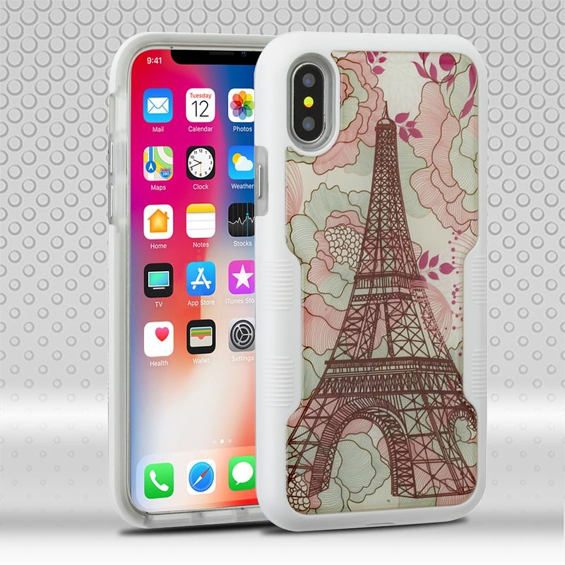 iPhone X Case, by Insten Tuff Eiffel Tower Dual Layer [Shock Absorbing] Hybrid Hard Plastic/Soft TPU Rubber Case Cover For Apple iPhone X, Multi-Color+ BasAcc Charger Cable Charging Cord White - image 1 of 3