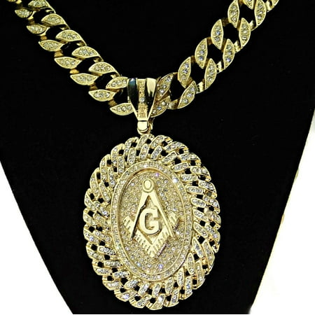 Huge Oval Mason Chain Medallion Cuban Masonic Freemason Pendant Gold Finish Iced-Out Bling 30