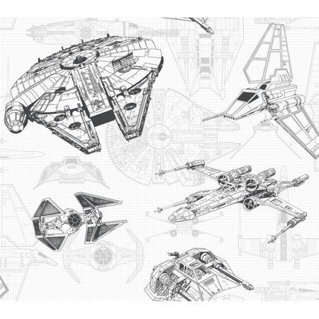 Star Wars Ship Schematic Wallpaper 27 in. x 27 ft. 60.75 sq.ft. - Civil War Wallpaper