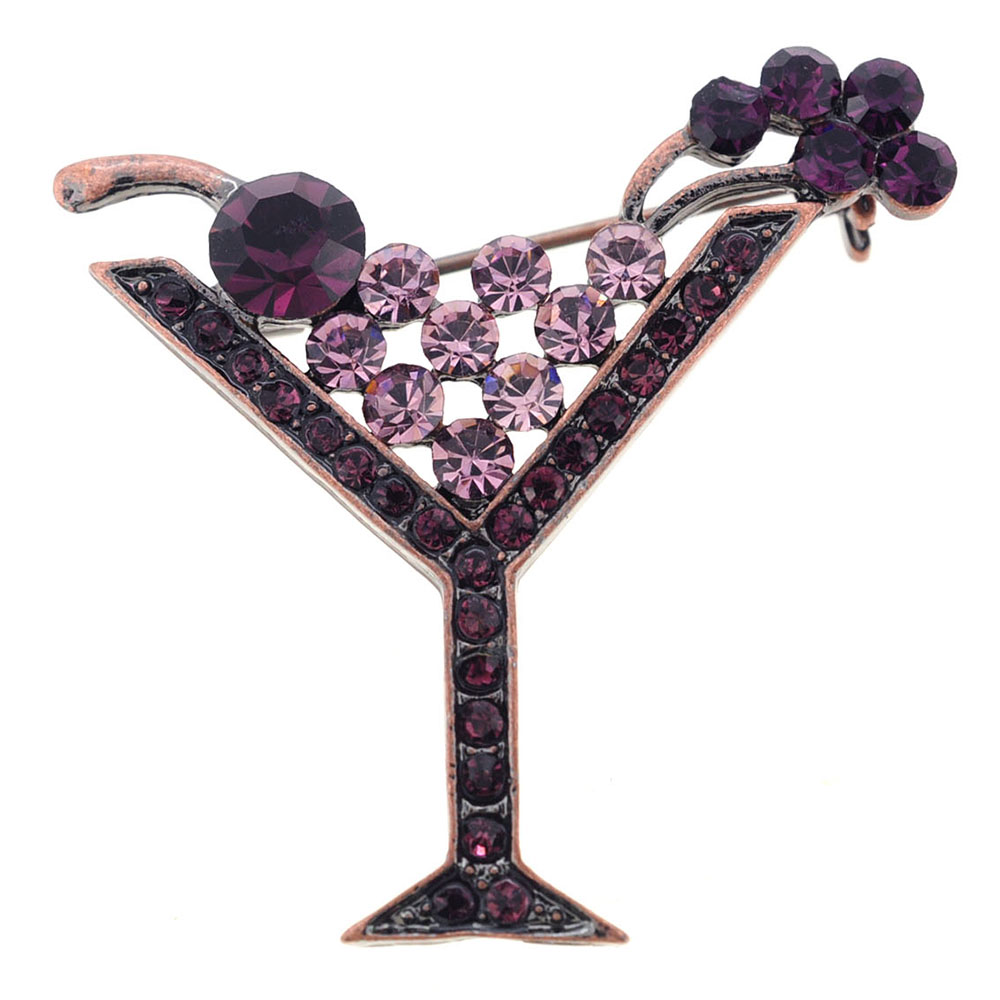 Purple Amethyst Martini Glass Crystal Pin Brooch by
