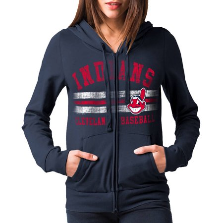 MLB Cleveland Indians Womens Fleece Zip Up Graphic Hoodie by