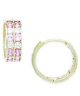 14k Yellow Gold Pink Cubic Zirconia Hoop Hinged Earrings Measures 14x15mm by Jewelryweb