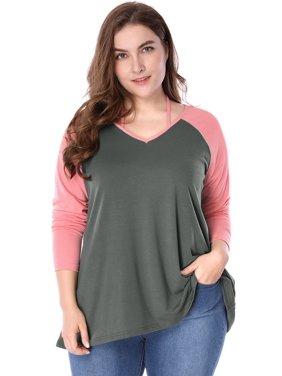 f500694a3569d8 Product Image Unique Bargains Women's Plus Size Color Block Lace Up V-Neck  Raglan Sleeve Top (