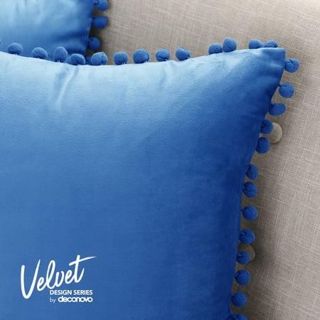 1//2x Velvet Cushion Cover Pom Poms Home Decorative Sofa Car Throw Pillow Case CW