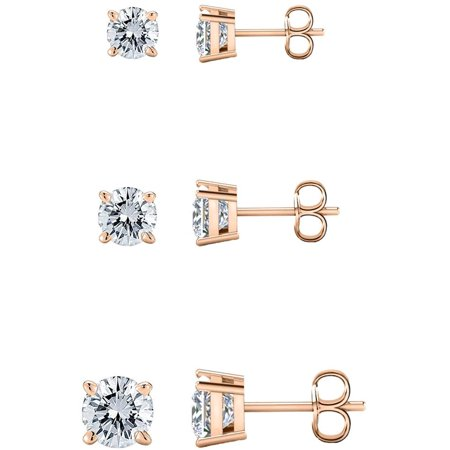 Savlano 3 Pair 14K Gold Plated Cubic Zirconia Round Cut Stud Earrings Comes In 4mm, 6mm & 8mm For Women, Girls & Men Zirconia 6mm Round Earrings