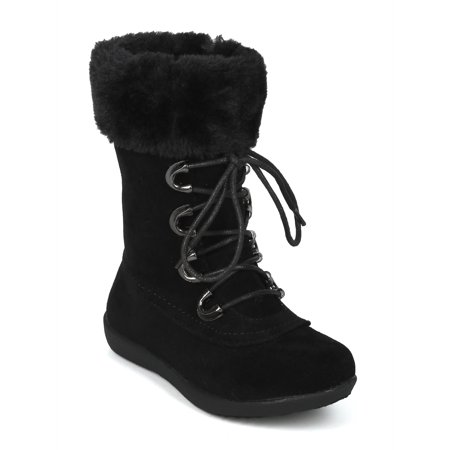 New Girls Faux Suede Lace Up Faux Fur Cuffed Winter Boot - 18068 By Jelly - Faux Fur Cuff Boot