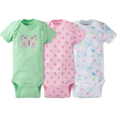 09667dc62 Gerber - Newborn Baby Girl Onesies Bodysuits Assorted, 3-Pack - Walmart.com