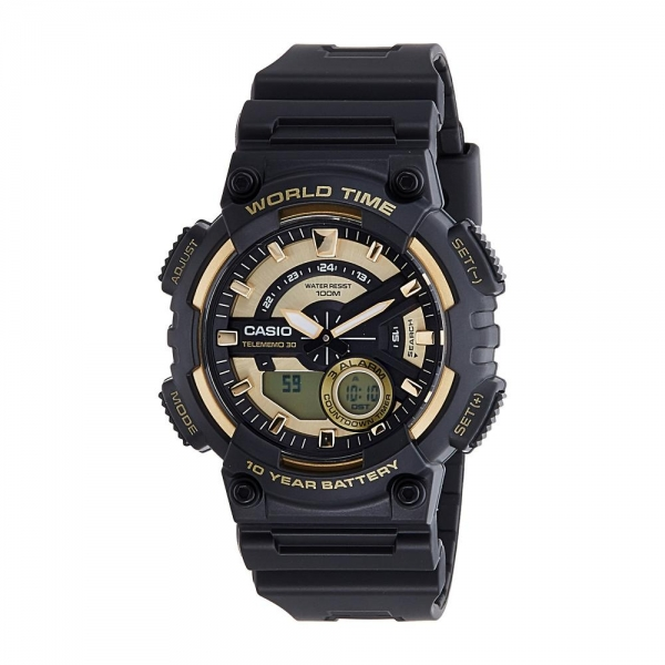 Casio Men's Ana-Digi Watch, Black/Gold, AEQ110BW-9AVCF