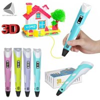 """Sixtyshades 3D Drawing Printing Pen with LCD Screen, Graffiti Printer Filament Refills Creative Toy Gift For Kids Adults Present """"Pink"""""""