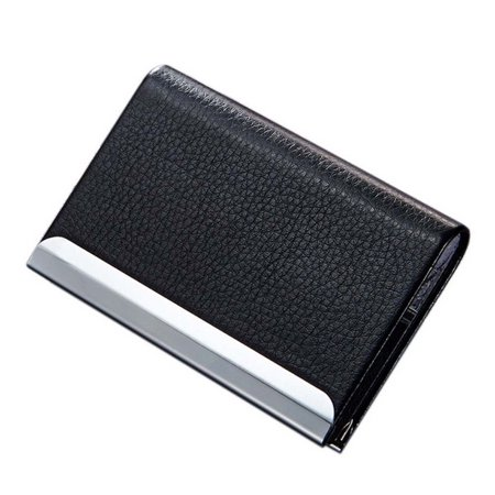 TSV Business Name Card Holder, ID Credit Card Case Wallet Luxury PU Leather and Stainless Steel with Magnetic Shut, (Case Business Card)