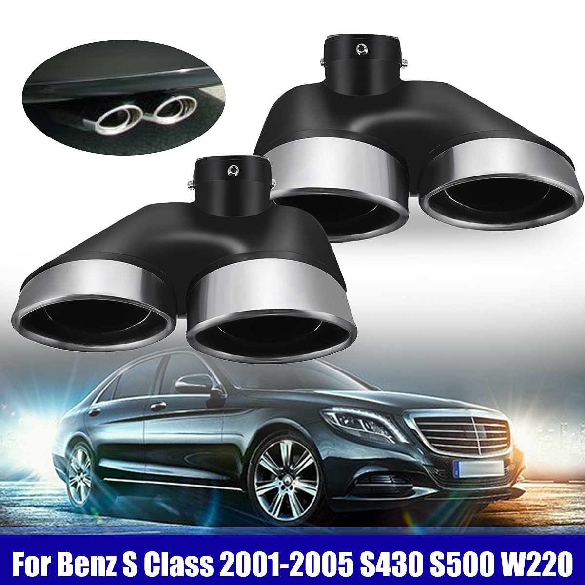 Dual Exhaust Muffler Pipe Tip For Mercedes Benz 2001-2005 S430 S500 W220 AMG