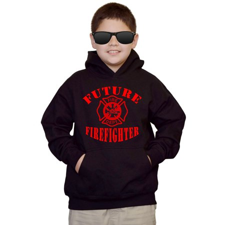 Youth Future Firefighter V486 Black kids Sweatshirt Hoodie Small (Personalized Firefighter Apparel)