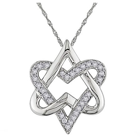 Love Star Of David Pendant - Miabella 1/5 Carat T.W. Diamond 10kt White Gold Star of David Heart Pendant, 17