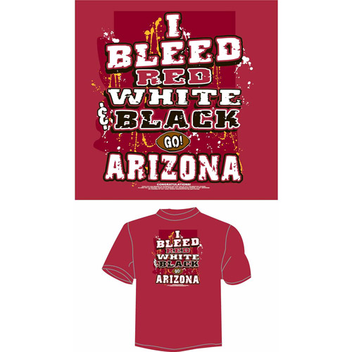 "Arizona Football ""I Bleed Red, White and Black, Go Arizona"" T-Shirt, Red"