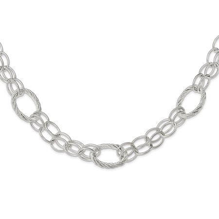 Sterling Silver Polished And Diamond-Cut Link Necklace