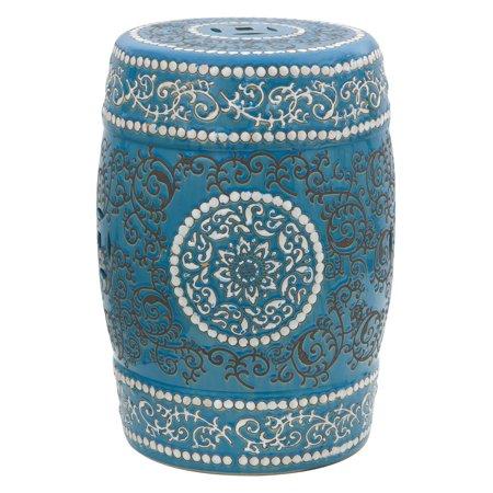 Oriental Furniture Carved Elephant Porcelain 18 in. Garden Stool - Oriental Carved Porcelain