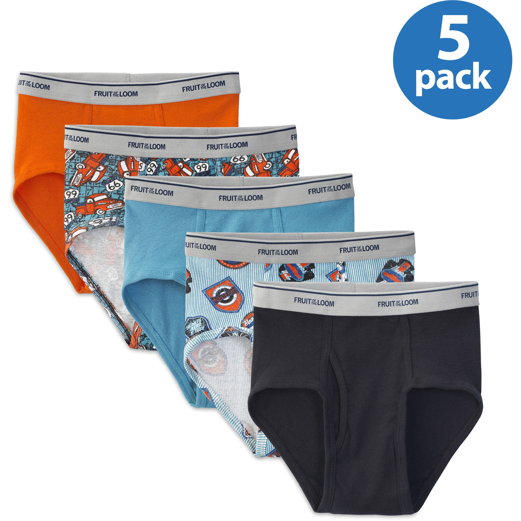 Fruit of the Loom Boys' Assorted Color Briefs, 5 Pack