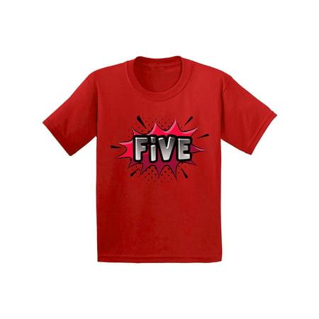 Awkward Styles 5th Birthday Shirt Girl Bday Boy Gift For 5 Year Old Kids Superhero Shirts Youth Pop Art Comic