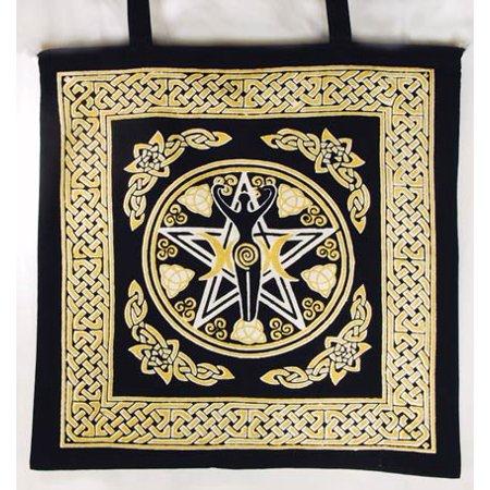 - Women Tote Handbags Gold Goddess of Triple Moon Pentacle Earth Washable Cotton