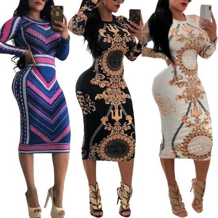 Fashion Womens Long Sleeve Print Bodycon Clubwear Cocktail Party Sexy Mini Dress ()