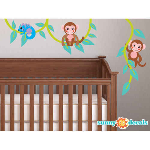 Sunny Decals Monkeys on Vine Fabric Wall Decal