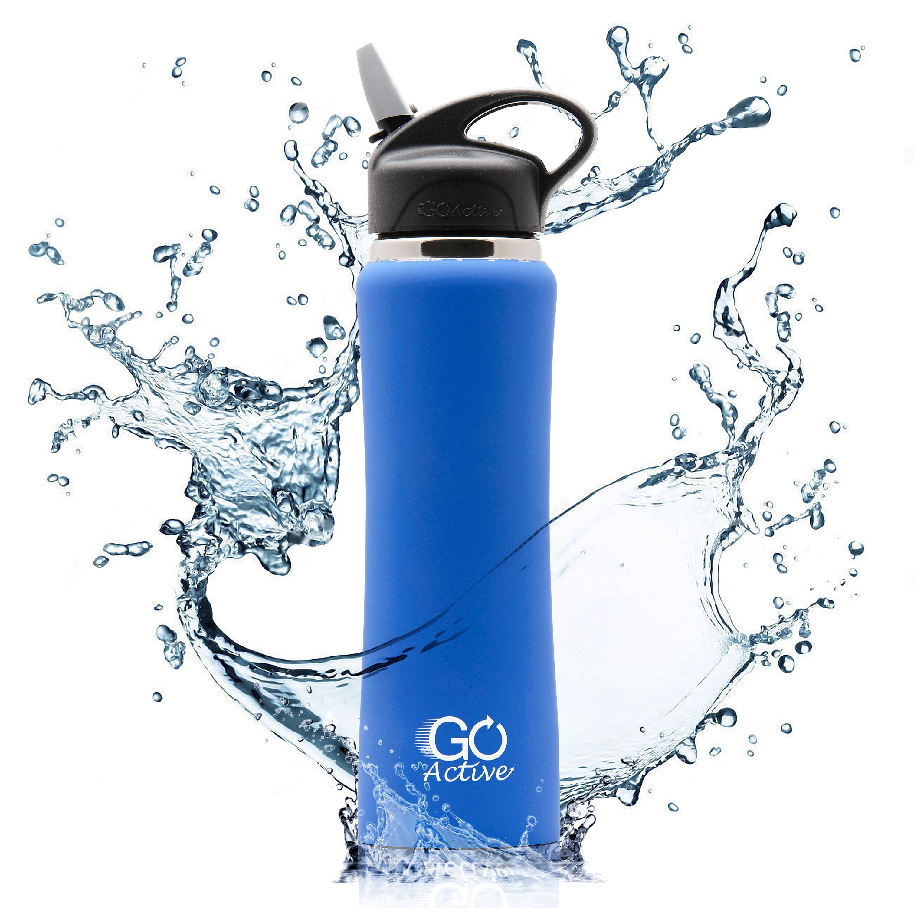 GO Active - Insulated Water Bottle with Straw. This Stainless Steel Sport Bottle is Leak Proof, Perfect for Kids, Durable, Vibrant Colors, and keeps ice over 24 hours! 24oz and 1 Liter size