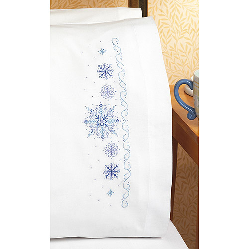 "Snowflakes Pillowcase Pair Stamped Cross Stitch, 20"" x 30"""