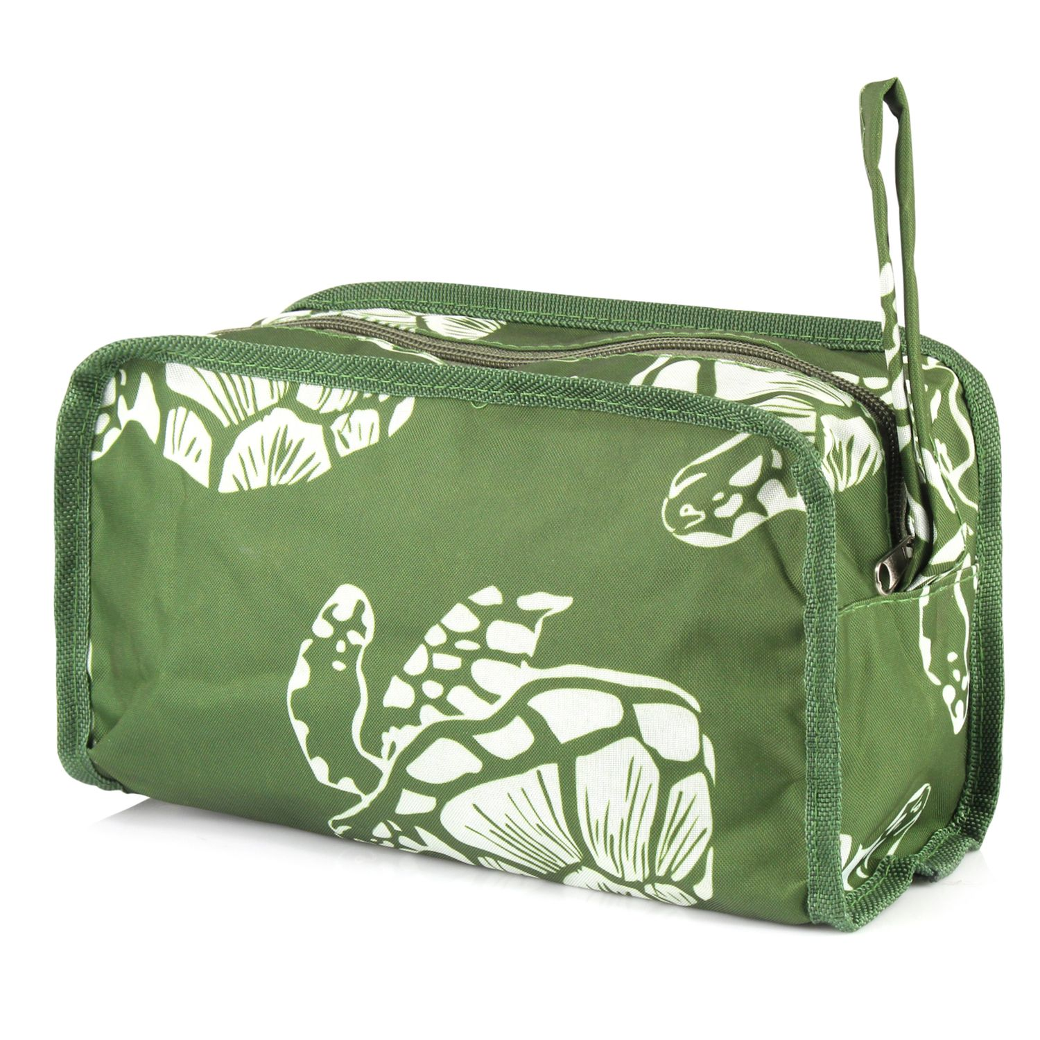 Travel Cosmetic Bag for Women by Zodaca Multifunction Toiletry Pouch Makeup Organizer Zip Storage Case - Green Turtle