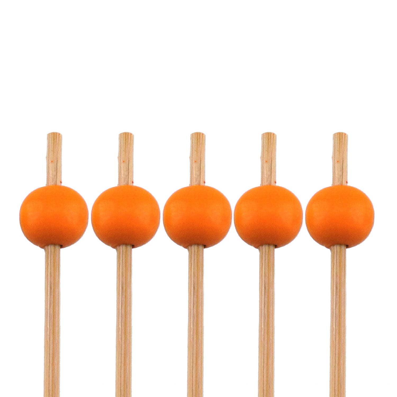 "BambooMN Brand - Decorative Ball End Bamboo Picks - 4.7"" (12cm) - Orange, 1,000pcs"